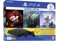 Комплект Playstation 4 1ТБ в комплекте с 3 играми (  Gran Turismo, God of War, Horizon Zero Dawn) и подпиской PS Plus на 3 месяца